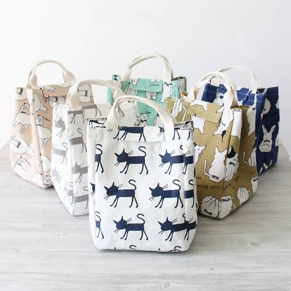貓小姐的便當袋 便當袋、貓便當袋、白貓、藍貓