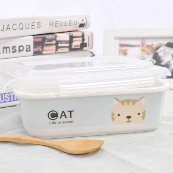 *【吃飯有喵陪】萌寵陶瓷分隔便當盒