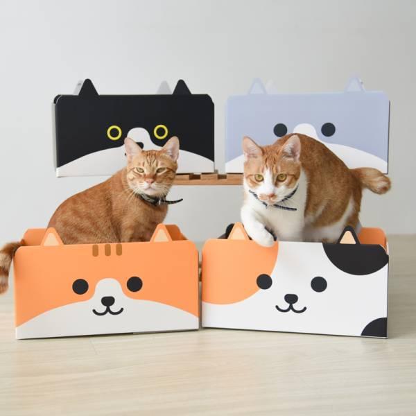 【能躲能抓主子好開心】貓臉造型紙盒貓抓板