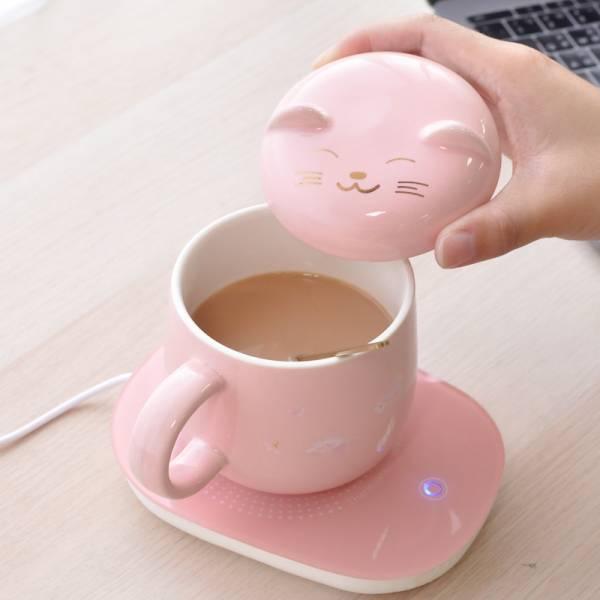 【暖暖喝進肚】貓咪櫻花杯恆溫暖杯墊
