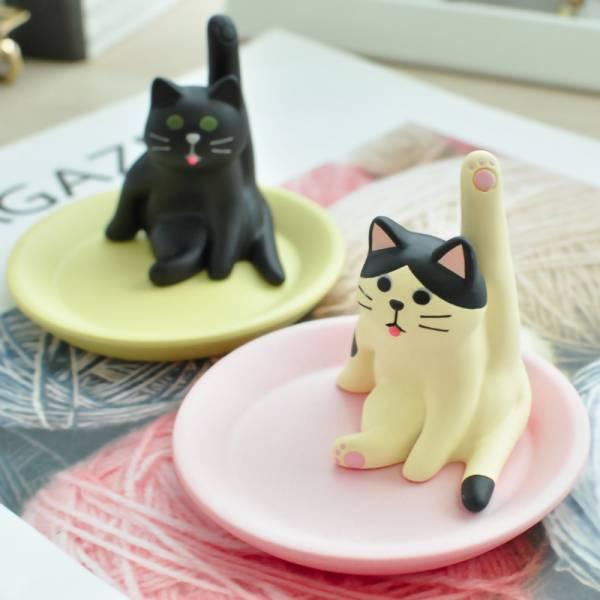 *【喵來幫你收】抬腳貓手飾配件托盤 日本進口