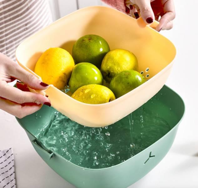 【喵喵輕鬆洗蔬果】多功能旋轉瀝水籃