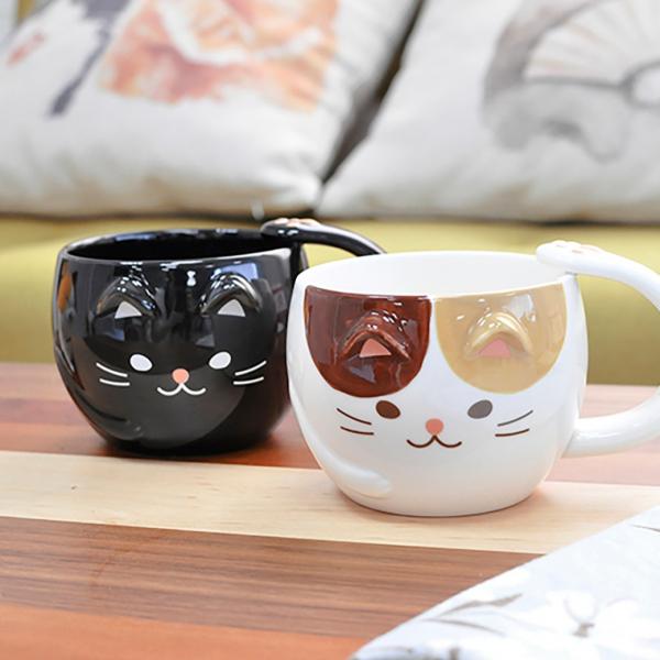 日本進口【黑貓三花來一杯】貓咪陶瓷杯
