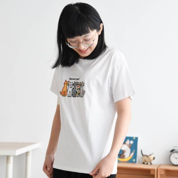 【貓貓跟你問個好】夏季寬鬆刺繡T