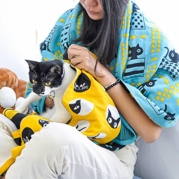 【繽紛喵喵來擦乾】紗布浴巾 浴巾,貓浴巾,貓頭,貓樸克