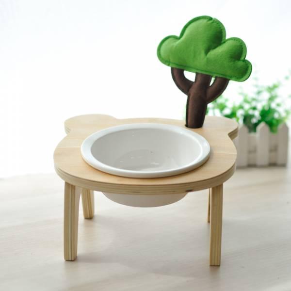 *【樹下覓食的喵】寵物可愛小樹碗架