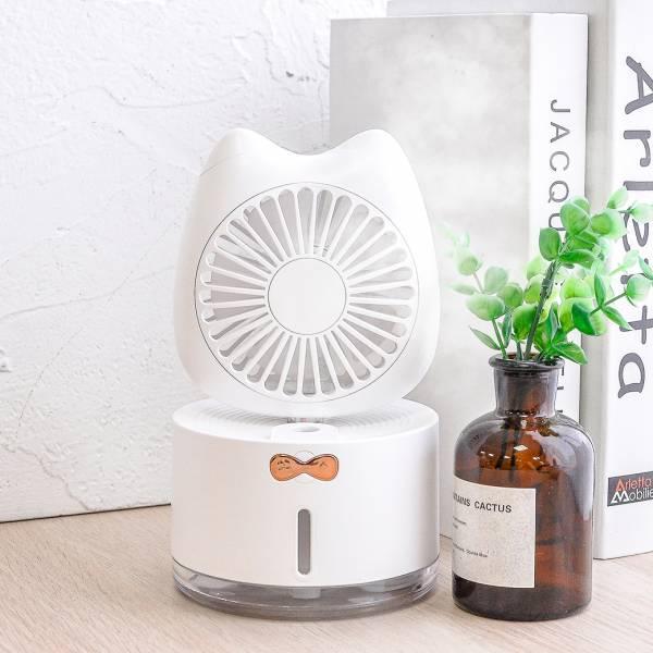 【萌喵小空調】貓咪加溼器風扇 桌上風扇,隨身風扇