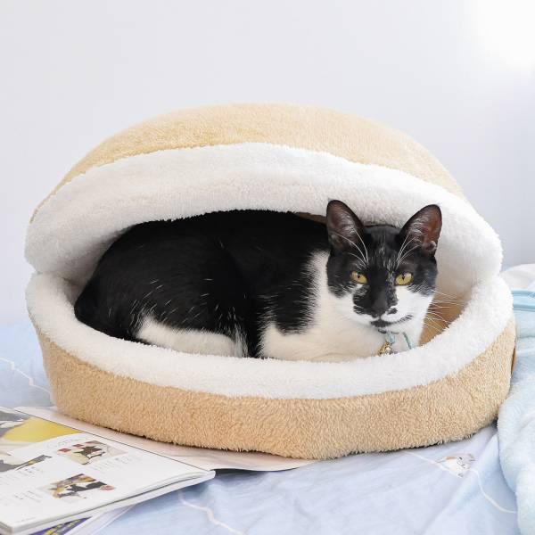 【漢堡包再升級】拉鍊漢堡貓窩 漢堡窩,貓,貓窩,有拉鍊