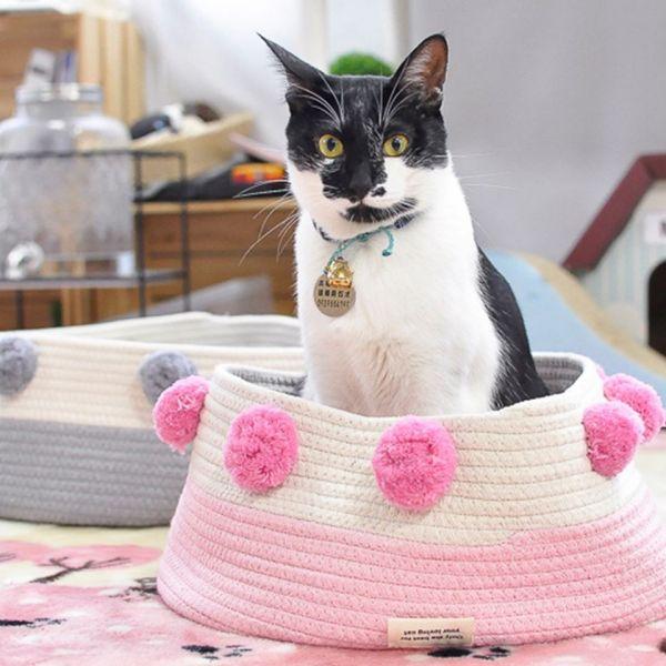 *【裝滿一籃喵】絨球棉質貓籃 絨球棉質貓籃,貓窩,貓籃