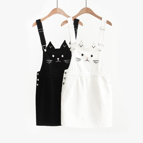 *【跟著貓咪搖裙擺】吊帶裙 貓樂園,創意市集,貓,牛仔褲裙