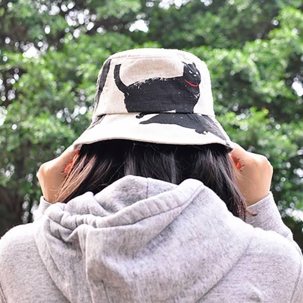 【戴一隻文青喵】漁夫帽 貓漁夫帽,黑貓帽,遮陽帽