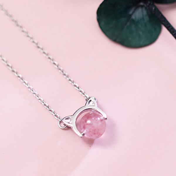 【貓國度的開運石】項鍊 項鍊、草莓項鍊、粉紅項鍊