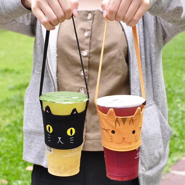 【飲料喵著走】環保提杯袋 設計師手作 提杯袋,手做,文創品,環保