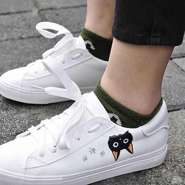 *QC品【貓奴穿的小白鞋】布鞋 帆布鞋,貓頭鞋,貓文字