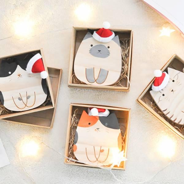 【搖擺吧木頭喵】木頭搖搖貓吊飾 禮物,聖誕禮物,交換禮物,木頭吊飾
