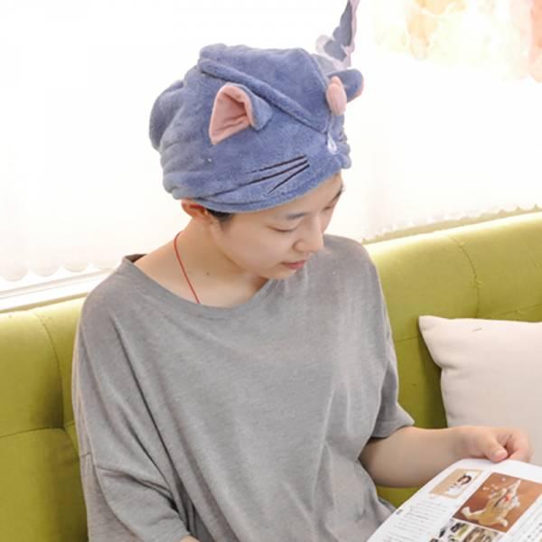 *【一頂喵喵乾髮帽】貓耳頭髮吸水巾