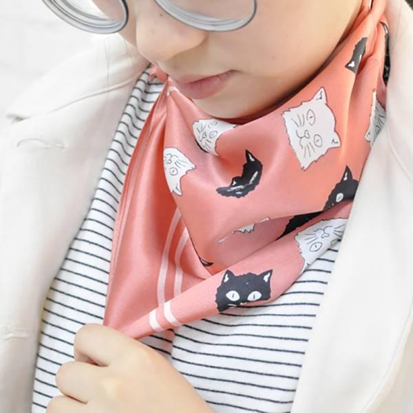 【秋冬就愛貓方巾】黑白貓頭方巾絲巾