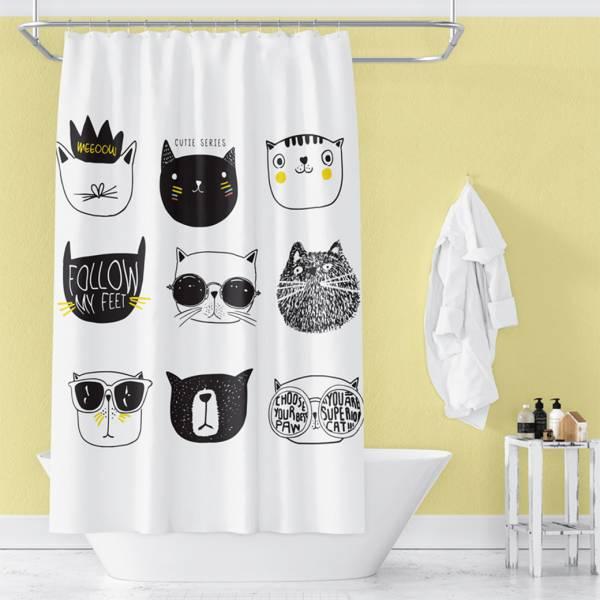 【洗澡有喵罩】卡通貓防水浴簾