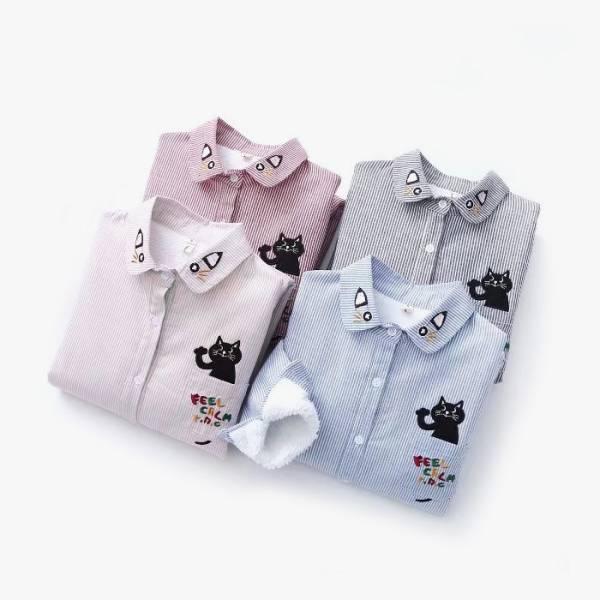 【毛絨絨藏在裡頭】 長袖襯衫 羔羊外套、襯衫、貓臉襯衫、黑貓