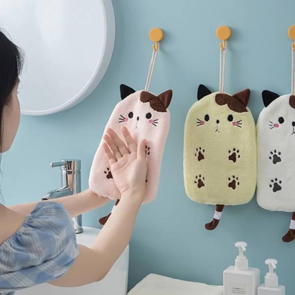 【萌喵來擦手】貓咪珊瑚絨擦手巾