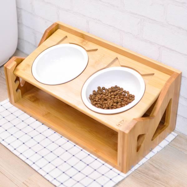 【喵喵陪喵喵吃飯】可調節升降碗架 可調整升降碗架,陶瓷碗,木頭碗架