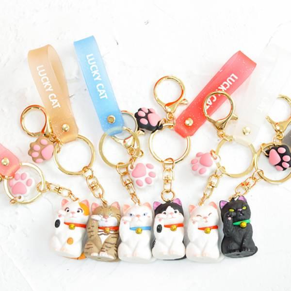 【招財喵喵掛身旁】招財鑰匙圈 貓咪吊飾,鑰匙圈,招財貓
