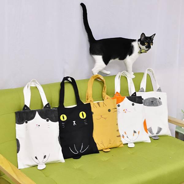 【 隨手揹隻喵】手繪帆布袋 設計師手作 手做,貓提袋,文清