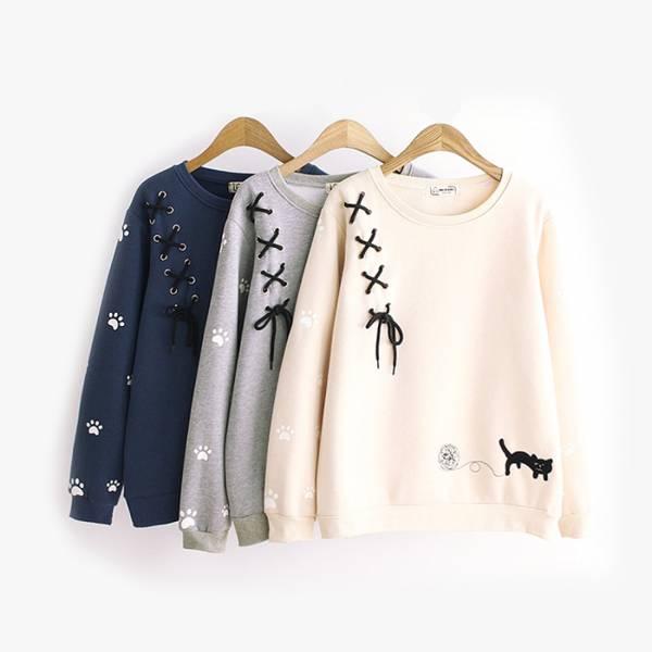*【出門前穿暖一點】長袖衣 毛線衣,貓玩球,長袖衣