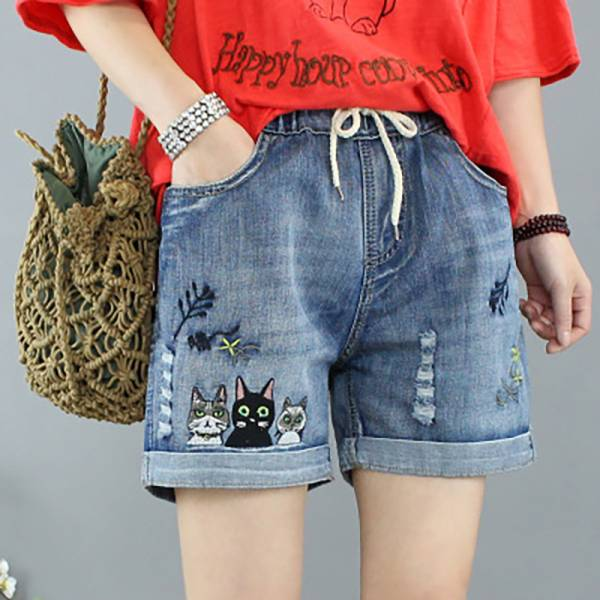 *【穿一條喵仔牛仔短褲】短褲 貓臉短褲,牛仔褲,藍貓短褲