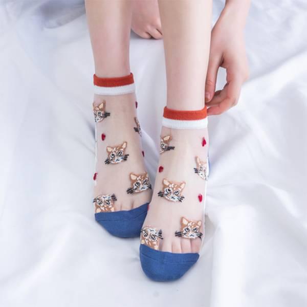 【氣質又可愛】神秘貓短襪 (5雙一組)