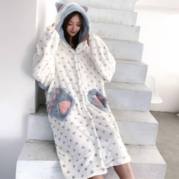 *【軟綿綿讓你一夜好眠】絨毛厚款卡通睡袍