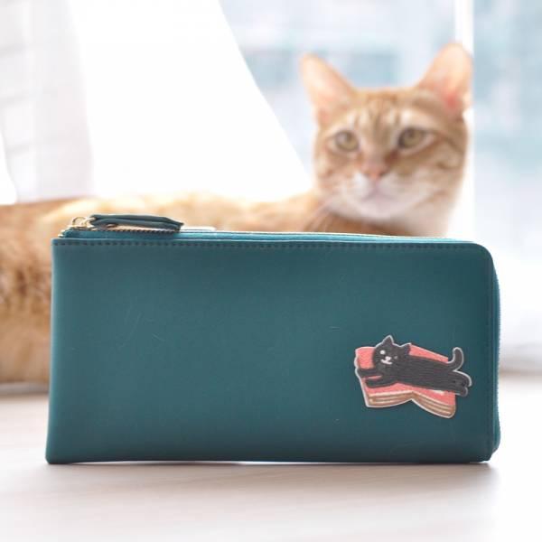 【貓刺繡錢包】真皮輕薄款L型 設計師手作皮夾 (eva)
