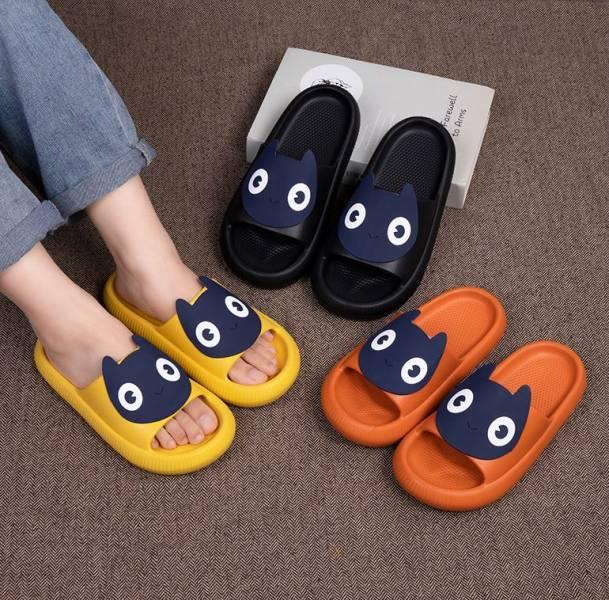 【室內室外兩相宜】大眼猫咪厚底凉拖鞋