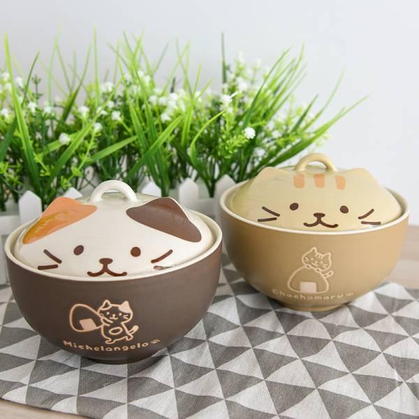 【泡泡麵神器】陶瓷貓咪蓋碗