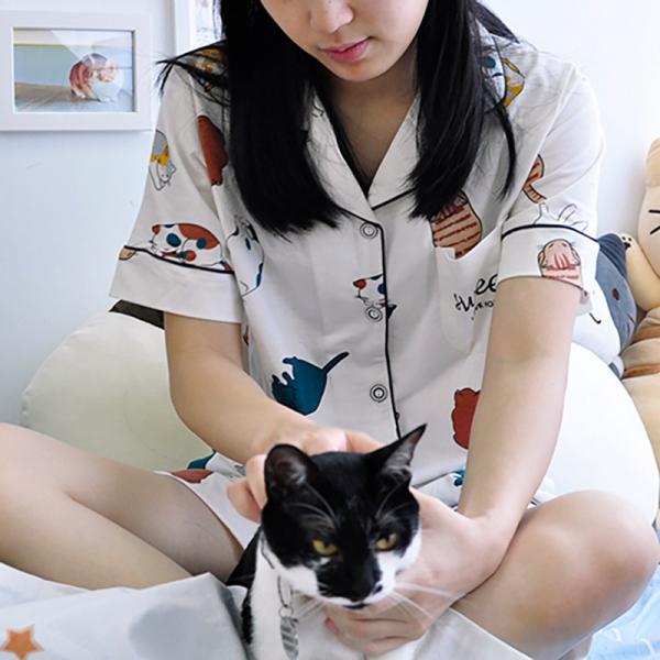 #【仲夏夜有主子陪睡】短袖睡衣 仲夏夜、貓睡衣、貓眼罩