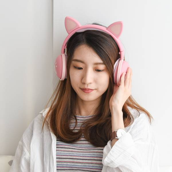 【喵喵獨享好音樂】聽音樂當隻貓 高音質耳機 貓耳朵耳機,耳罩式耳機,全罩式耳機,發光猫耳頭戴式,重低音,有線連接耳機