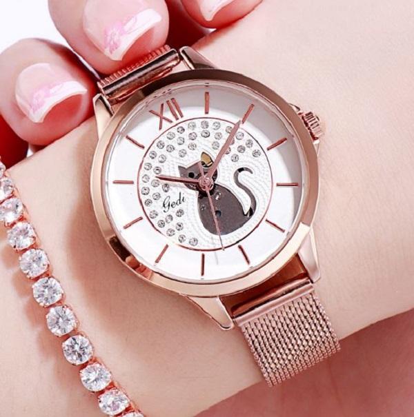 *【喵小姐的時尚金屬錶】錶 金屬錶,貓小姐,手錶,貓奴