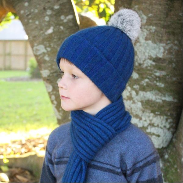 兒童保暖帽紐西蘭貂毛羊毛兔毛球帽亮藍(潟湖藍) 保暖,美麗諾羊毛,保暖帽,兒童 保暖帽