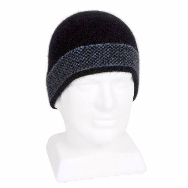 【水藍X黑】紐西蘭貂毛羊毛帽保暖帽男用女用 單層薄款-摩斯配色 羊毛配件,毛帽,羊毛帽,保暖帽,保暖帽登山推薦