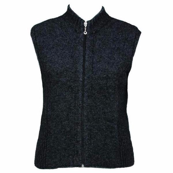 【女裝】立領拉鍊黑色紐西蘭貂毛羊毛背心