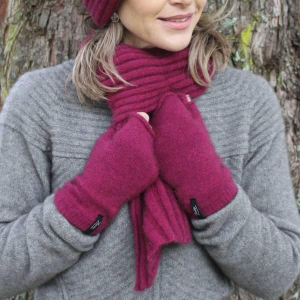 紐西蘭貂毛羊毛圍巾_(紫)桃紅色