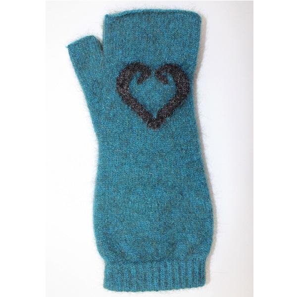 愛心蕨葉【藍綠】紐西蘭貂毛羊毛袖套手套 保暖露指手套-美型袖套造型女用手套 保暖手套,袖套,羊毛手套,露指手套