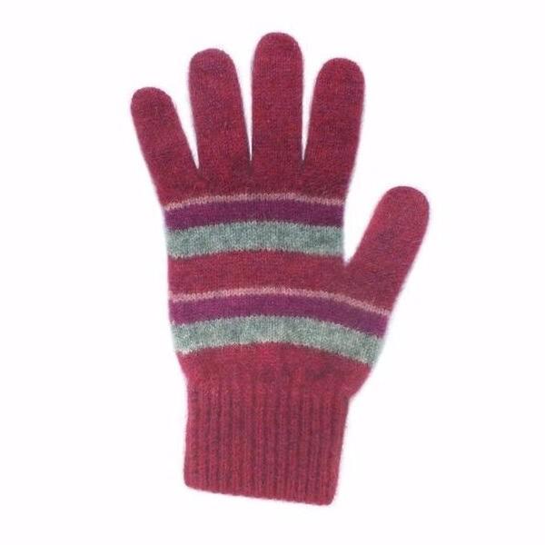 粗細條紋【粉桃灰莓】紐西蘭貂毛羊毛手套保暖手套 高保溫輕量女用手套 羊毛手套,保暖手套,防寒手套,手套男,手套女