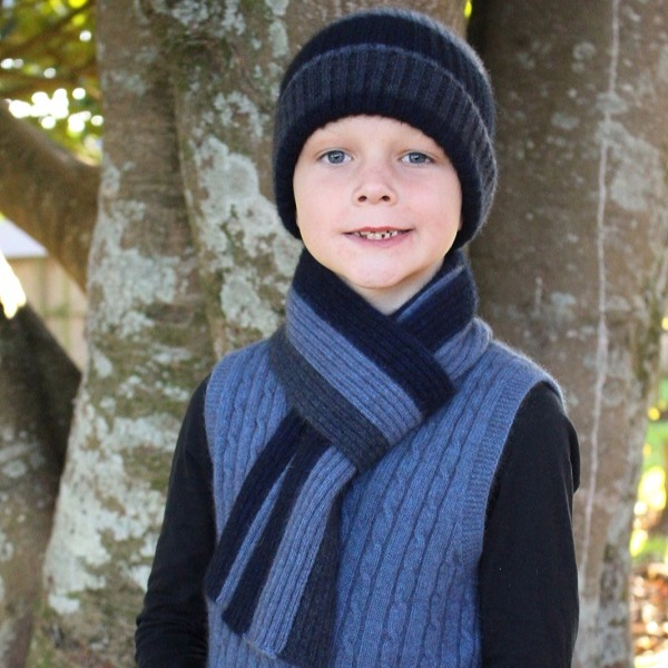 兒童保暖帽多彩條紋【水藍】紐西蘭貂毛羊毛帽
