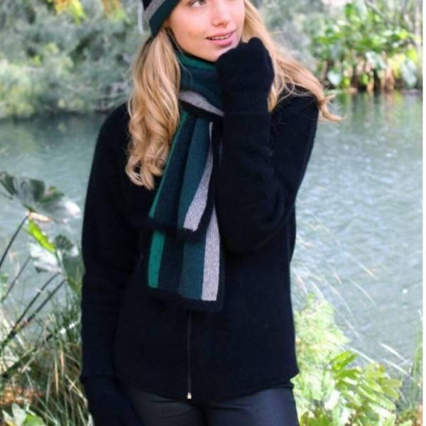 寬版彩色條紋【藍綠】紐西蘭貂毛羊毛圍巾 男用女用保暖圍巾