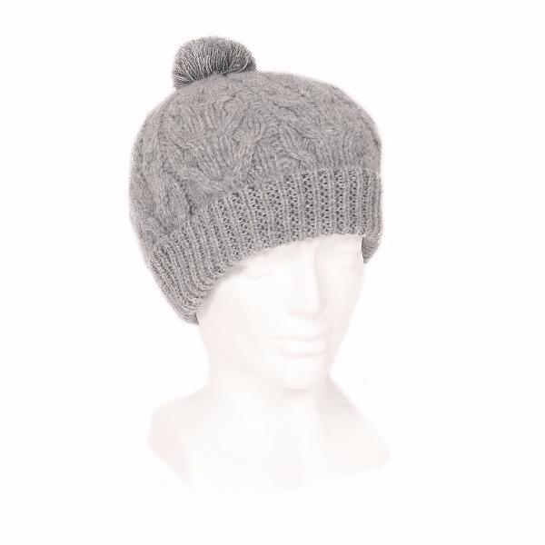 毛線球麻花【灰色】紐西蘭美麗諾羊毛帽 粗針織手織感毛線帽保暖帽毛球帽 毛線帽,毛球帽,羊毛帽,毛帽,保暖帽