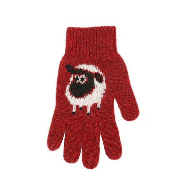 可愛羊【紅】紐西蘭美麗諾純羊毛手套 保暖手套推薦男用女用登山旅遊居家外出 羊毛手套,純羊毛手套,保暖手套,保暖 手套 推薦,防寒手套