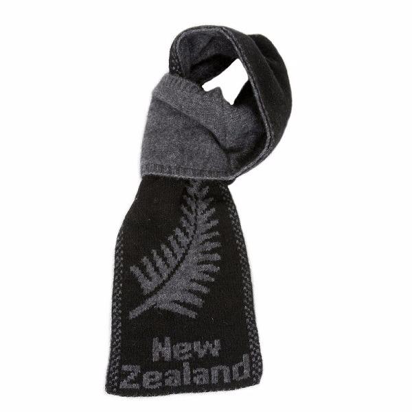蕨葉雙面紐西蘭貂毛羊毛圍巾 輕巧保暖圍巾懶人圍巾-男用女用-炭灰X黑 圍巾,保暖圍巾,羊毛圍巾