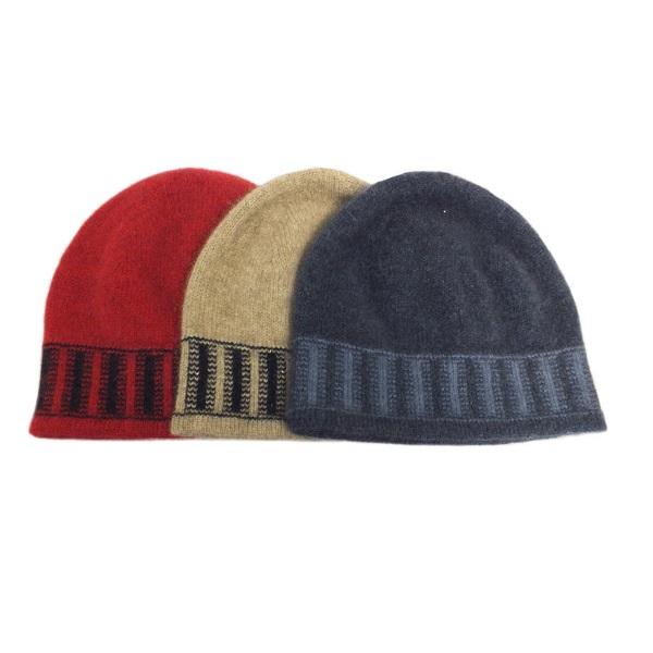 深紅色兒童保暖帽紐西蘭貂毛羊毛帽(黑色條紋)
