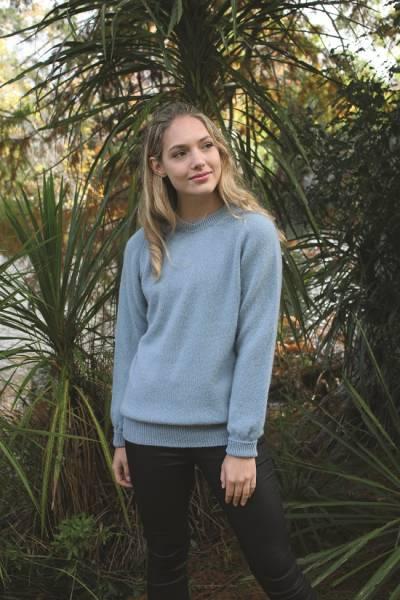 霧藍小圓領100%紐西蘭駝羊毛保暖長袖毛衣